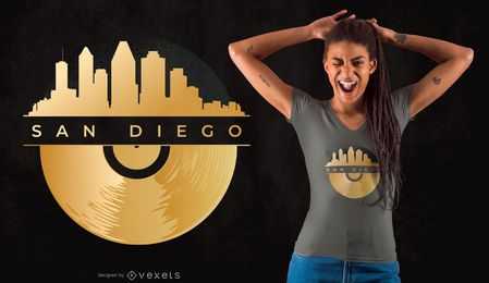 Projeto do t-shirt da skyline do vinil de San Diego