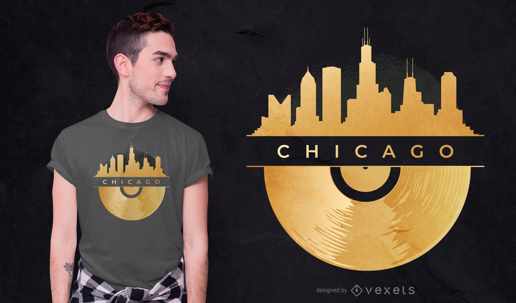Diseño de camiseta Chicago Vinyl Skyline