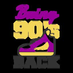 Tênis com letras dos anos 90