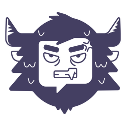Angry yeti sticker blue