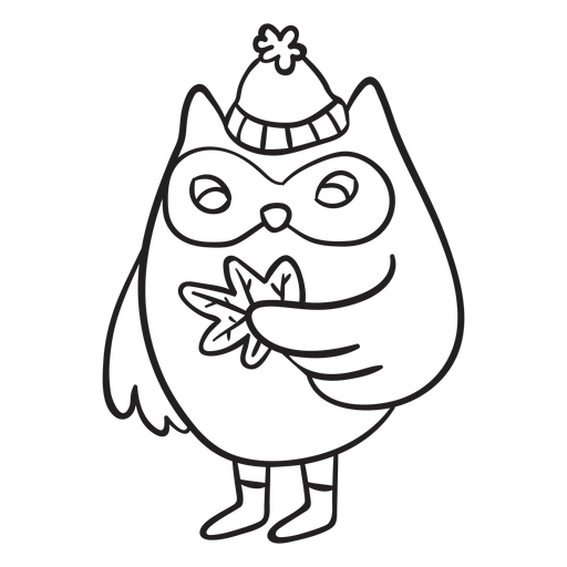 Autumn owl stroke Transparent PNG