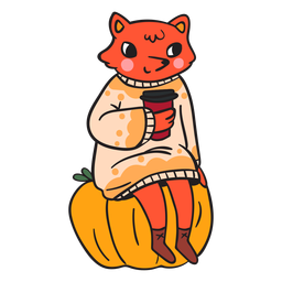 Cartoon flat fox fox