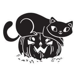 Calabaza negra de halloween gato