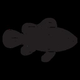 Silueta de pez payaso nada peces