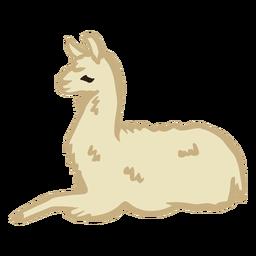 Llama sentado animal plano