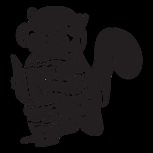 Squirrel reading book