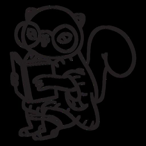 Stroke squirrel reading Transparent PNG
