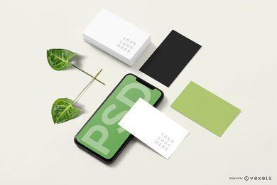 Composición de maqueta de negocio de smartphone