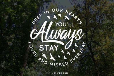 Letras conmemorativas amadas y perdidas