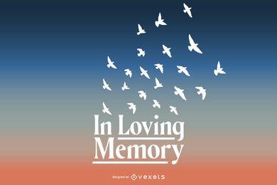 No design de letras de memória amorosa