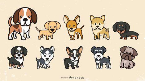 Conjunto de raças de cachorro fofo