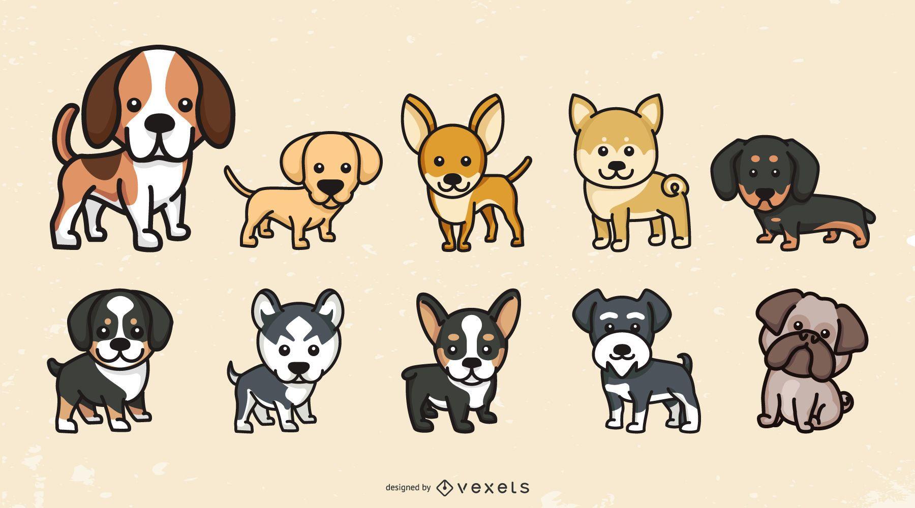 Conjunto de raças de cães fofos