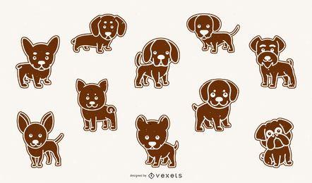 Lindo paquete de razas de perros