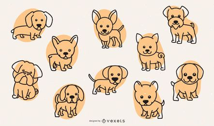 Cute dog breeds stroke set