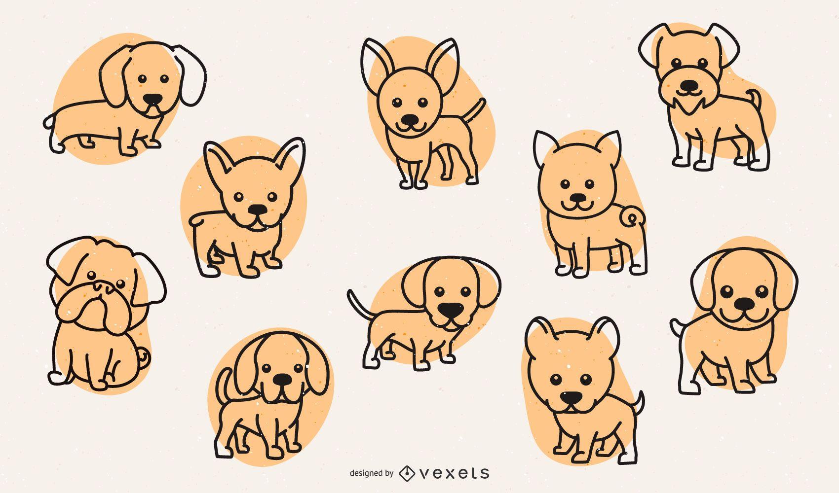 Cute dog breeds stroke set