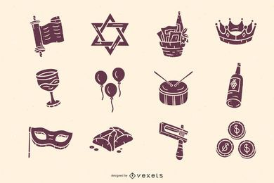 Hand drawn purim elements pack