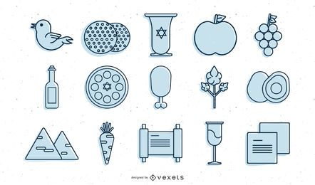 Passover stroke icon collection