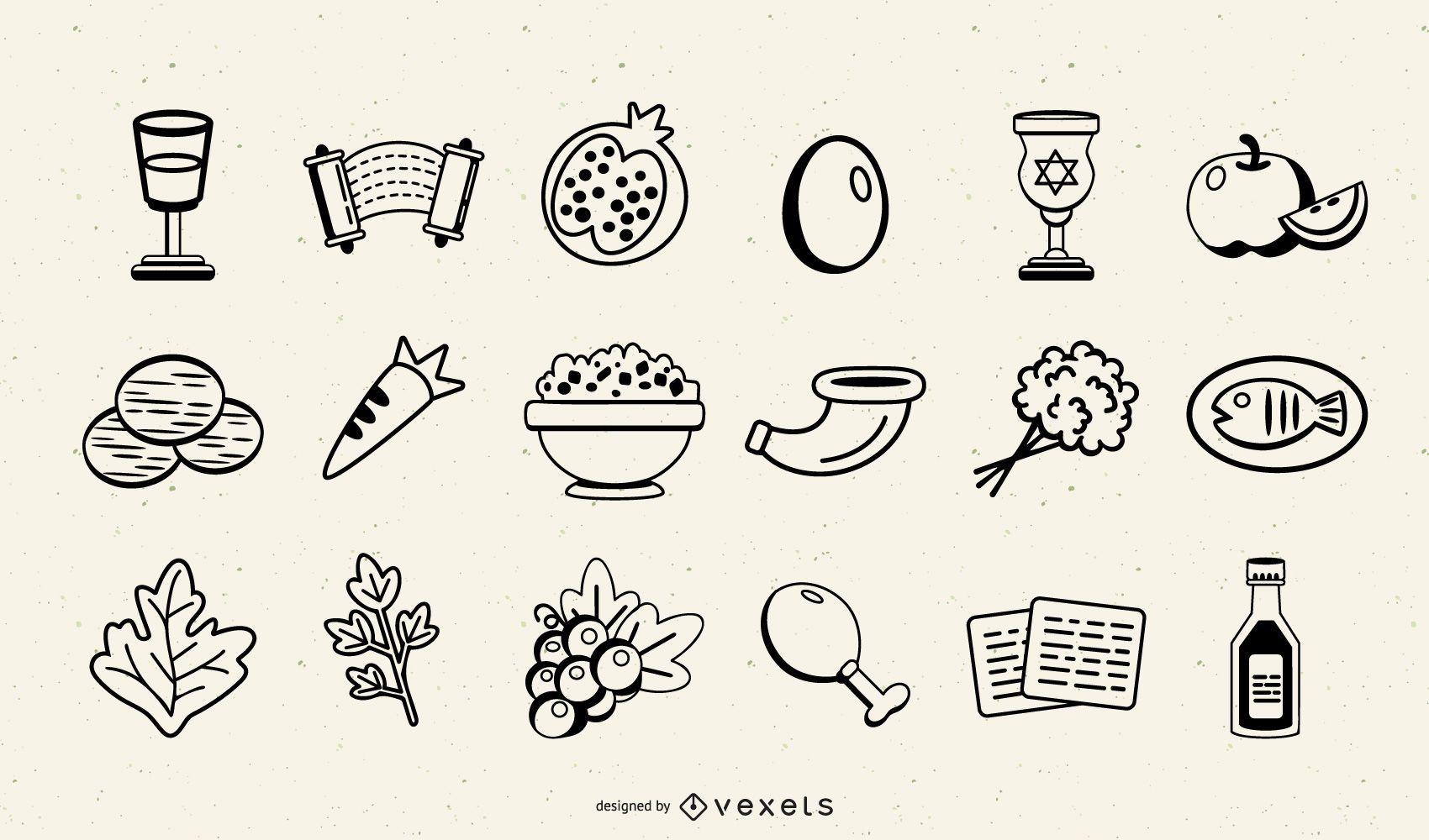 Passover Stroke Elements Set