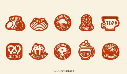Conjunto de etiquetas de despensa de alimentos
