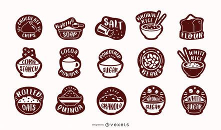 Pacote de rótulos de despensa de ingredientes