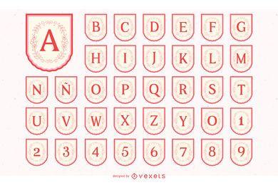 Conjunto de alfabeto de banner del día de Valenine