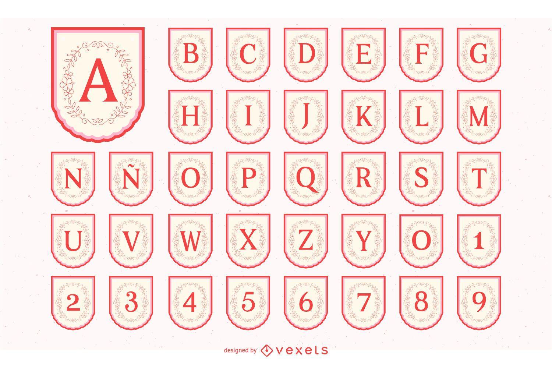 Conjunto de alfabeto do banner do dia de Valenine