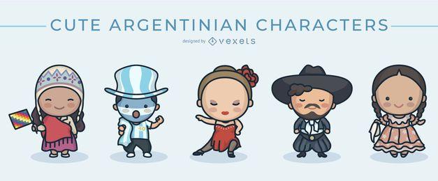 Conjunto de caracteres argentinos fofos