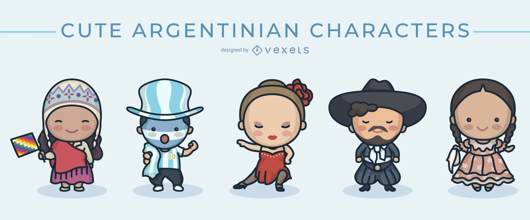 Cute argentinian characters set