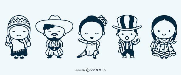 Conjunto de caracteres lindos trazo argentino