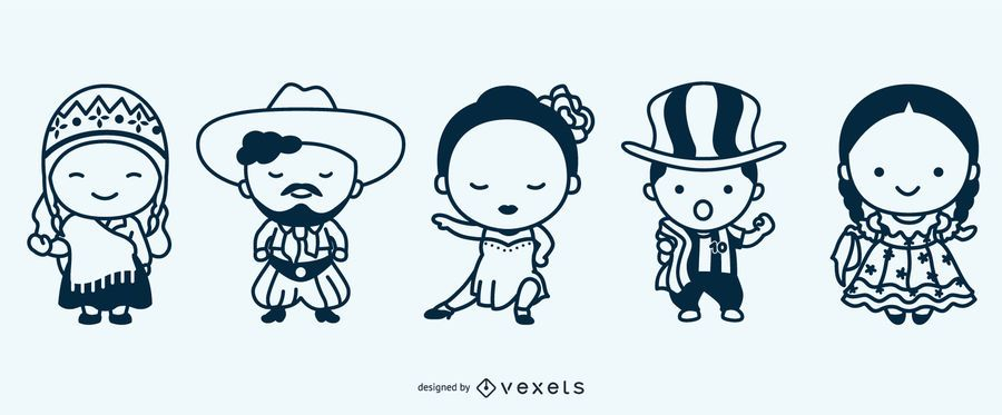 Cute argentinian stroke characters set