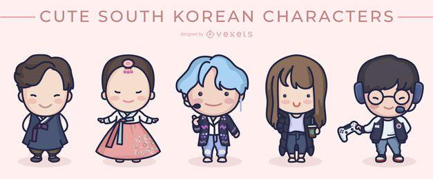 Conjunto de personajes lindos de Corea del Sur