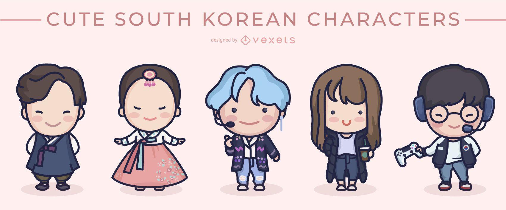 Lindo conjunto de personajes de Corea del Sur
