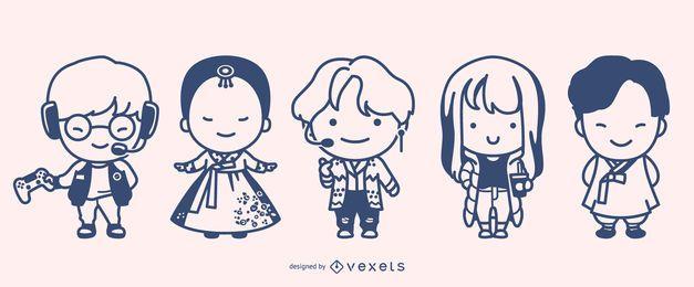 Lindo conjunto de diseño de personajes surcoreanos