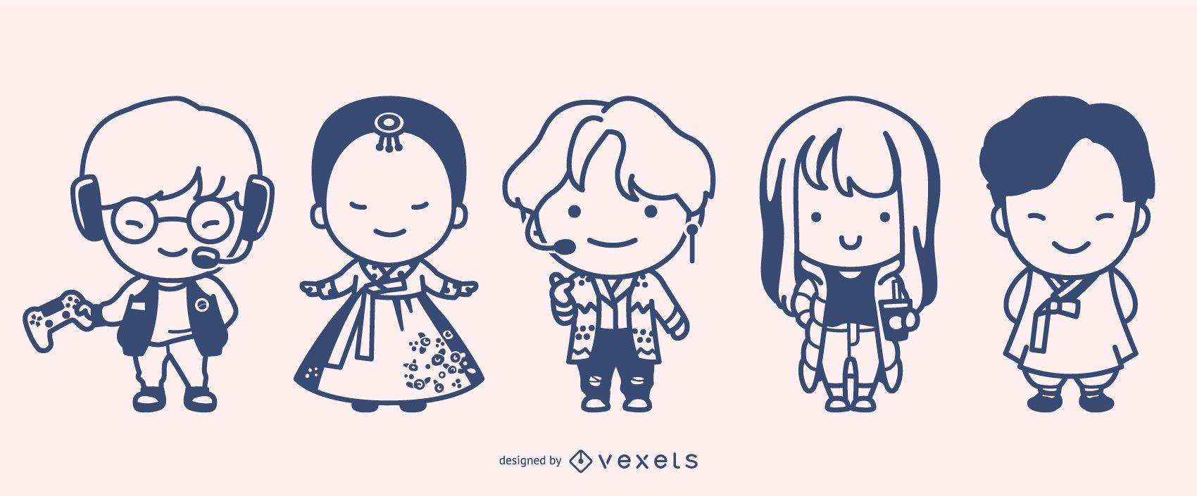 Cute South Korean Character Design Set