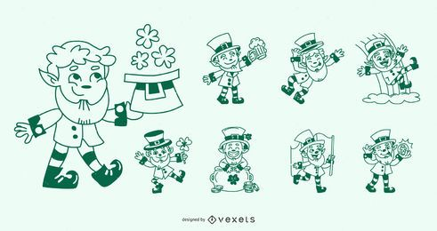Conjunto de Design de personagens de traço de dia de São Patrício