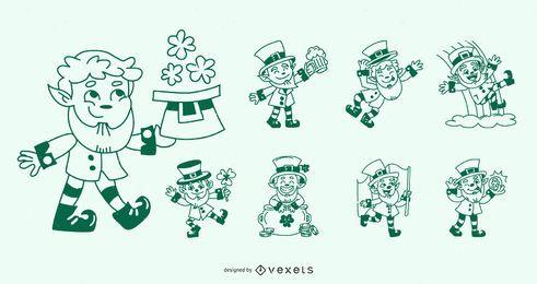 Conjunto de diseño de personajes de trazo del día de San Patricio