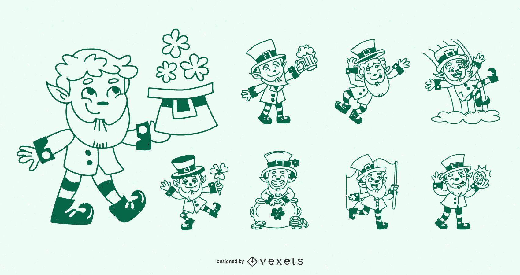 St. Patrick's Day Stroke Character Design Set