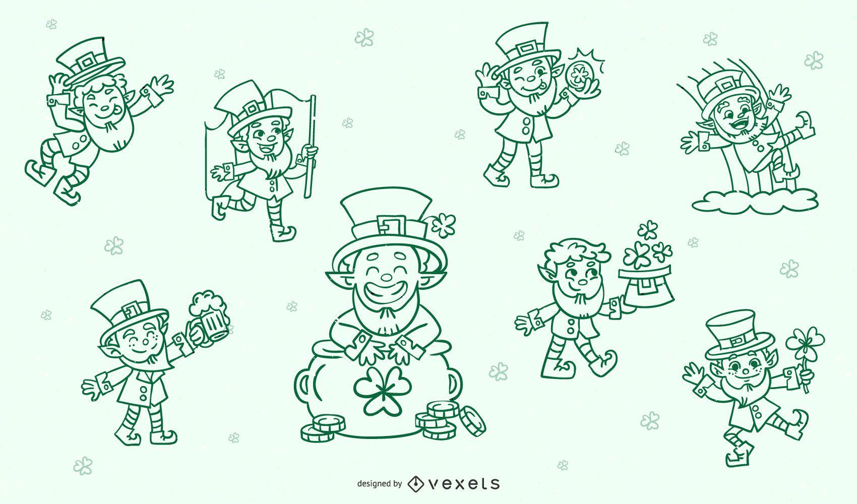 Conjunto de caracteres de trazo de st patricks