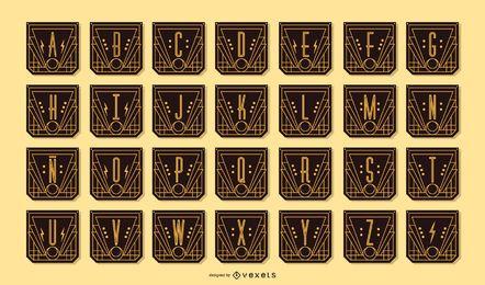 Pacote de estandartes em letras do alfabeto Art Déco