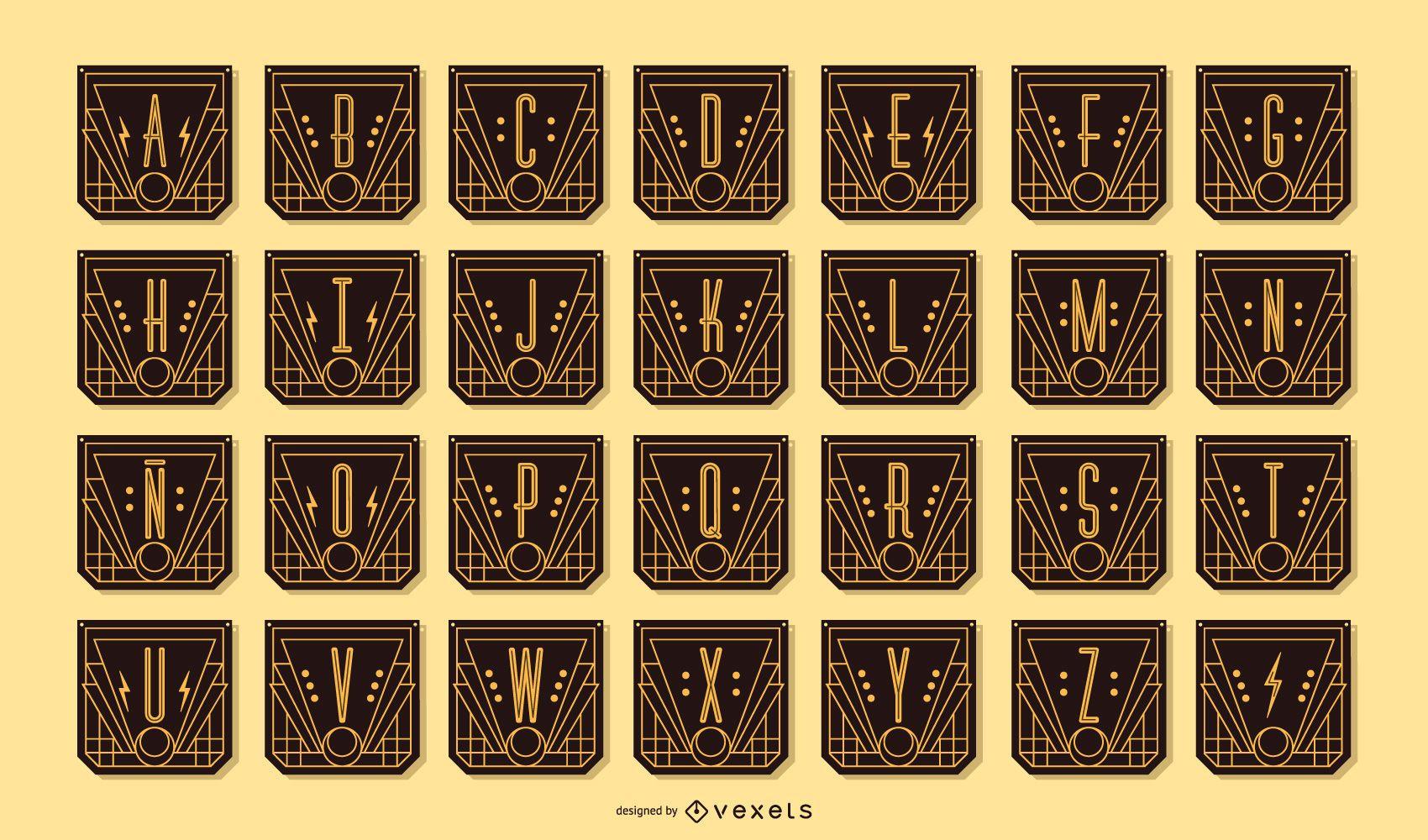 Art Deco Alphabet Letter Banner Pack