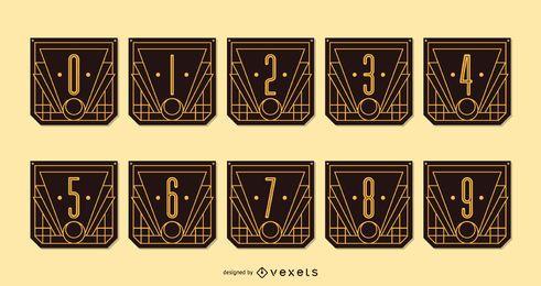 Paquete de pancartas con números Alphabet Art Deco