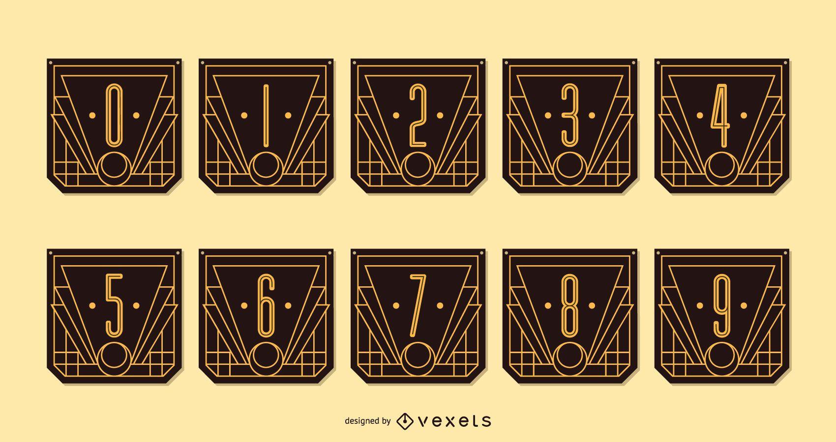 Alphabet Art Deco Number Banner Pack