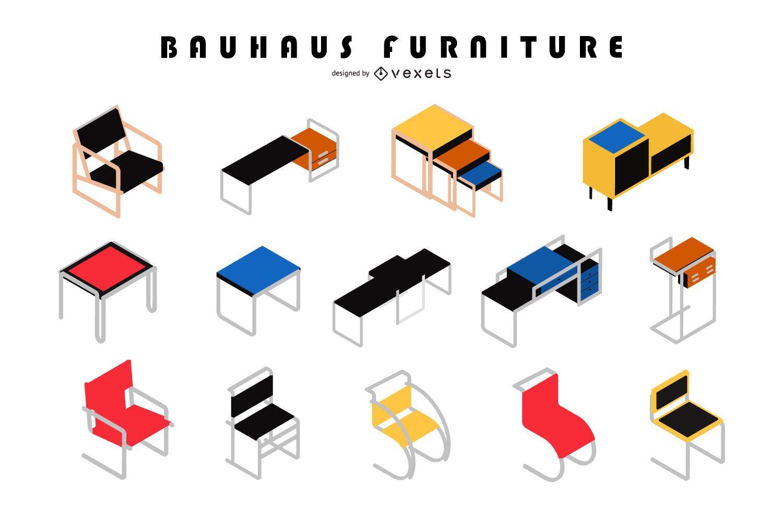 Conjunto de design isométrico de móveis Bauhaus