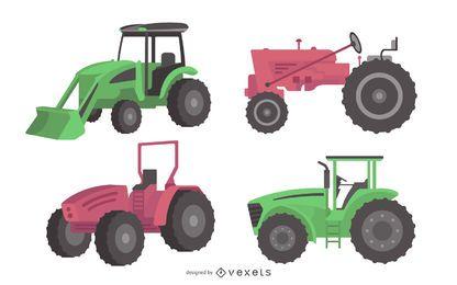 Conjunto de ilustración de tractor de granja de diseño plano