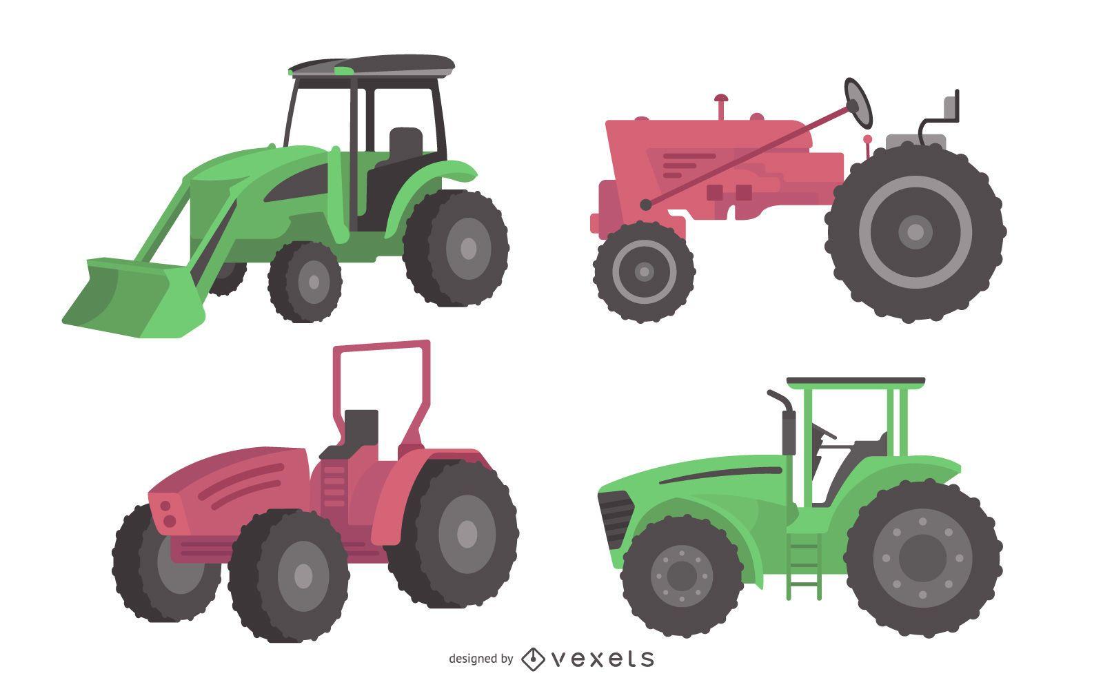 Flat Design Farm Tractor Illustration Set