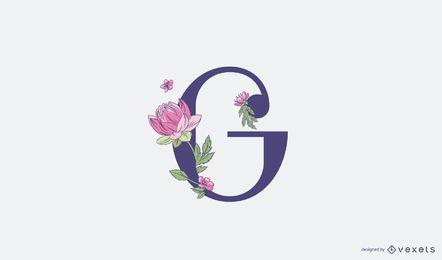 Modelo de logotipo floral com letra G