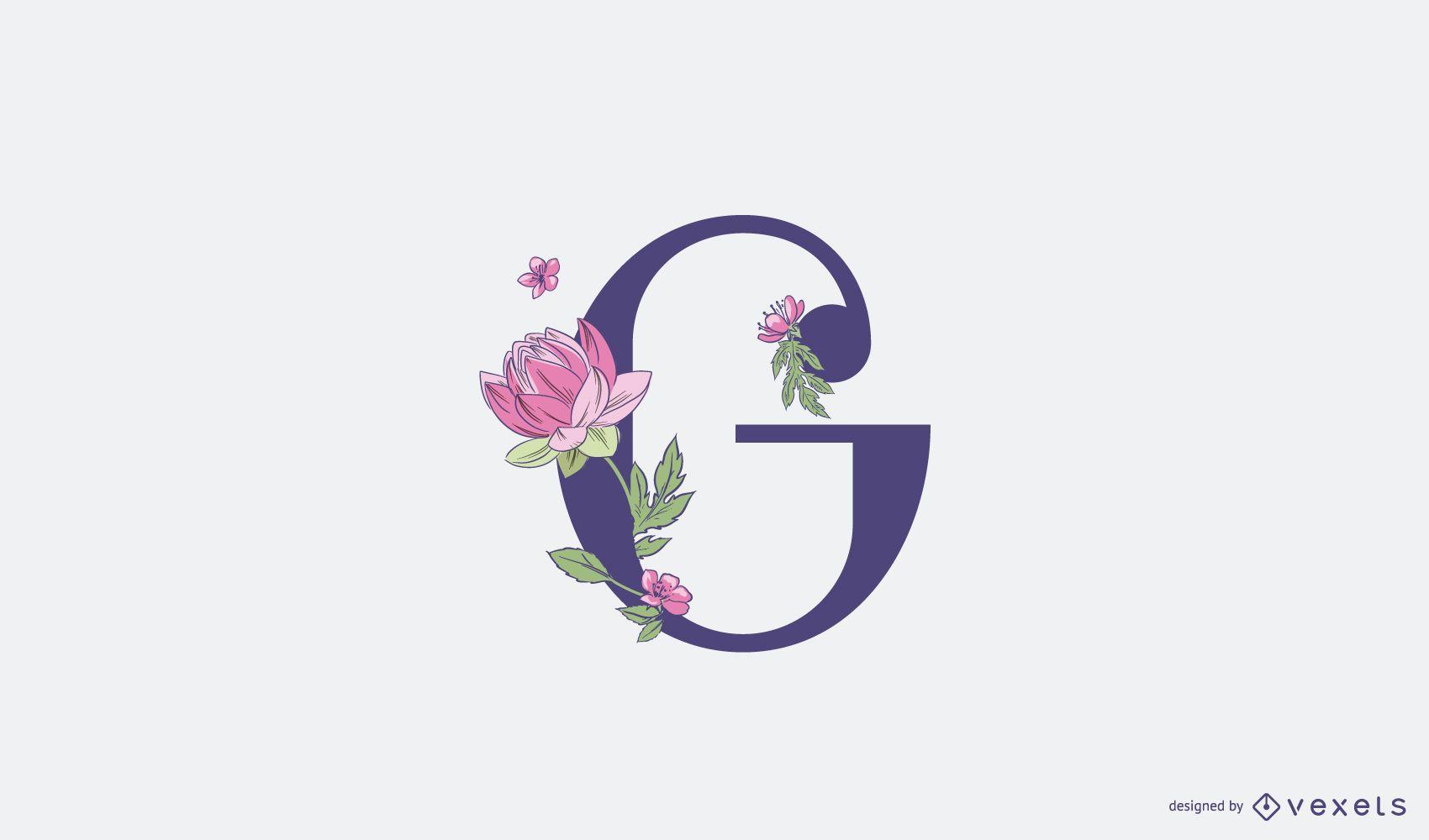 Plantilla de logotipo floral letra G