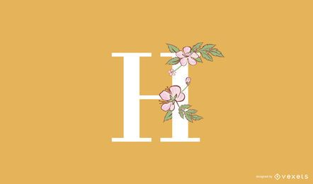 Floral letter H logo template