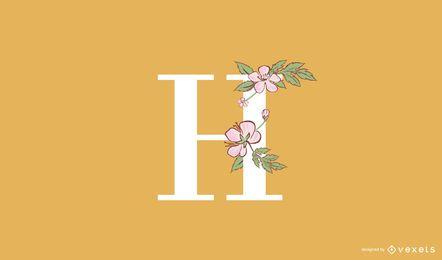 Modelo de logotipo floral letra H