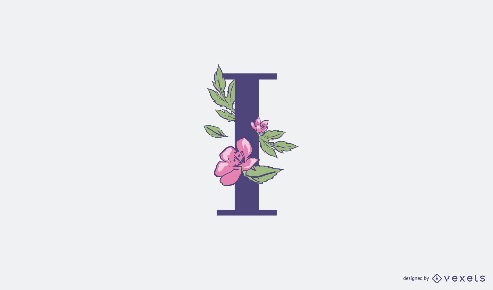 Plantilla de logotipo floral letra I